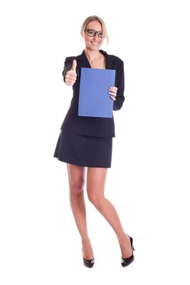 Geschäftsfrau mit einer Mappe - Daumen hoch