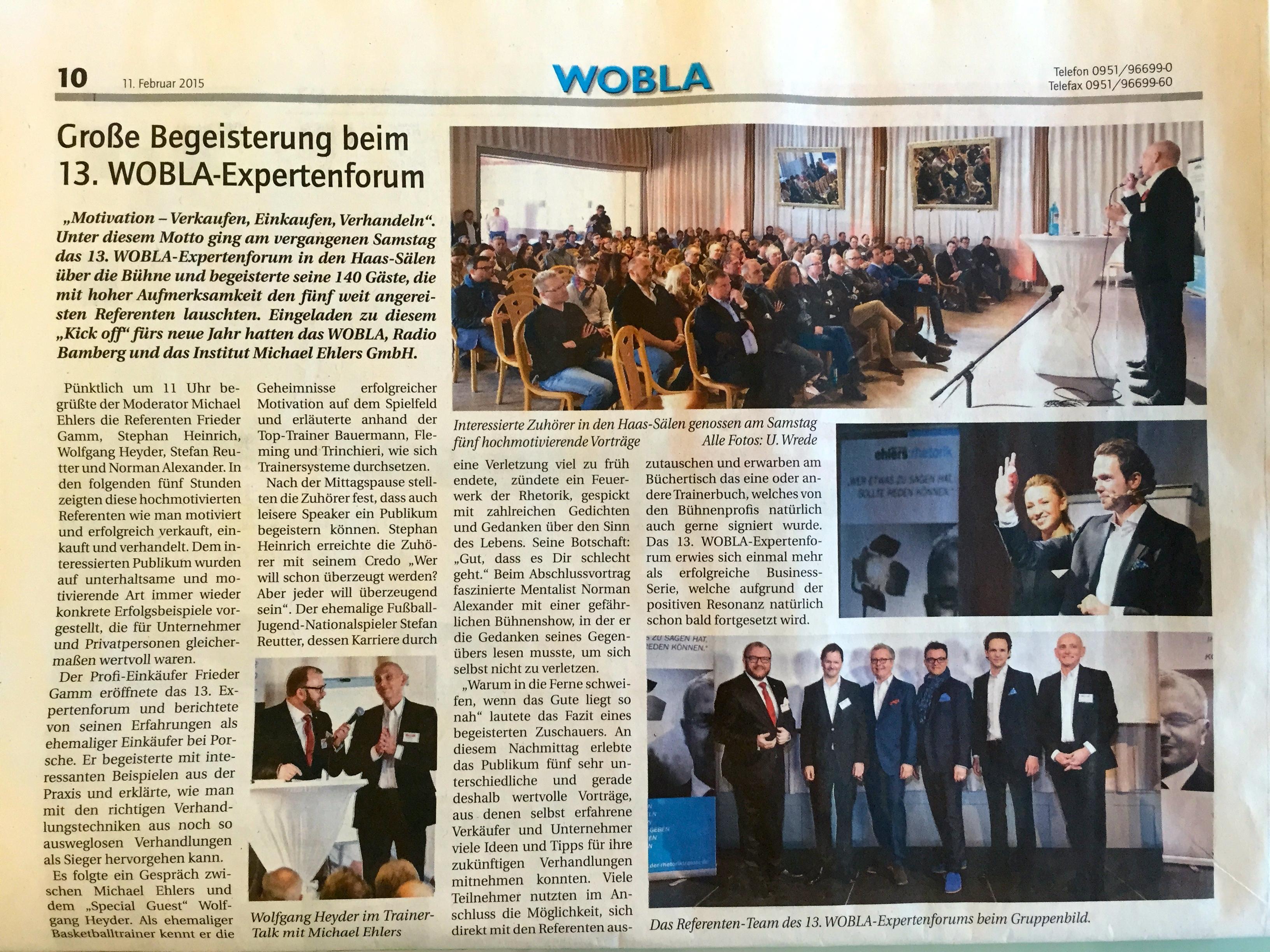 Der Zeitungsbericht von unserem Medienpartner WOBLA